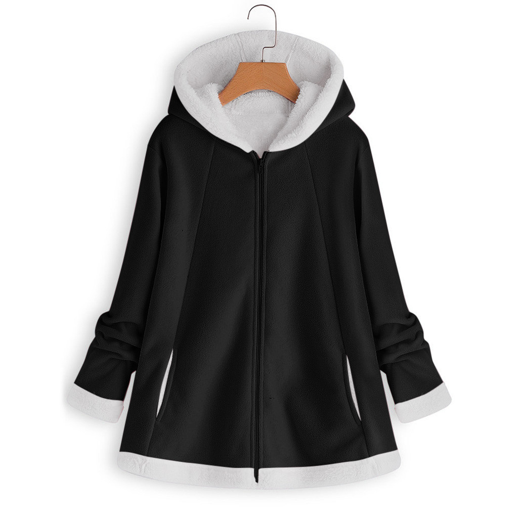 H5c7114be4a65492e81c9aae66e24f2a4f women's autumn jacket Winter warm solid Plush Hoodie Coat Fashion Pocket Zipper Long Sleeves outwear manteau femme plus size 5XL