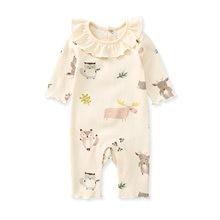 Pureborn bebê recém-nascido menina macacão plissado colarinho manga longa primavera outono roupas da menina do bebê algodão magro dos desenhos animados pijamas outfit