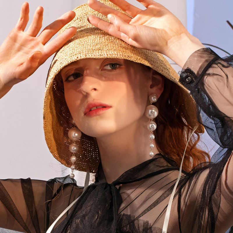 Moderno elegante creado grandes pendientes largos de perlas de imitación perlas cadena declaración gota pendientes para regalo de fiesta de boda