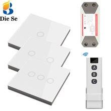 Interruptor de toque sem fio do painel de parede do rf 86 do interruptor do interruptor do toque do controle de casa inteligente interruptor de ligar/desligar, receptor da c.a. 110v 220v 10a para a luz