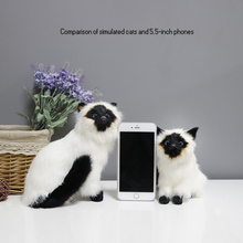 цена Plush Toys Leather Hair Simulation Siamese Cat Animal Home Creative Decoration Pet Cute Kitty Model Photography Shooting Birthda онлайн в 2017 году