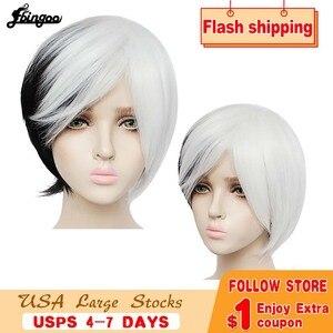 Image 1 - Ebingoo Круэлла Девиль женские парики средней длины Белый Черный Многослойные синтетические Косплэй парик для Для женщин вечерние костюмы на Хэллоуин + парик Кепки