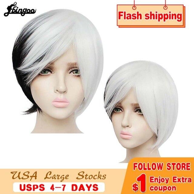 Ebingoo Круэлла Девиль женские парики средней длины Белый Черный Многослойные синтетические Косплэй парик для Для женщин вечерние костюмы на Хэллоуин + парик Кепки