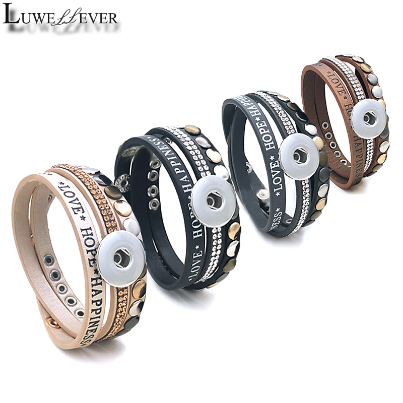 Fashion Multi-turn Love Hope Bangle 139 PU Leather 18mm <font><b>12mm</b></font> <font><b>Snap</b></font> <font><b>Button</b></font> Bracelet Interchangeable Charm <font><b>Jewelry</b></font> For Women Gift image