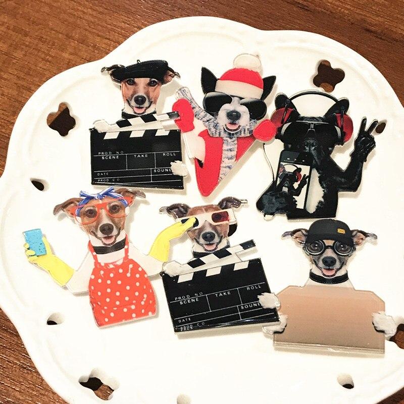 Emblemas animais 6 pçs impressão figura cão gato porco broche acrílico pino na mochila roupas menina acessórios crianças menino trinket para o presente