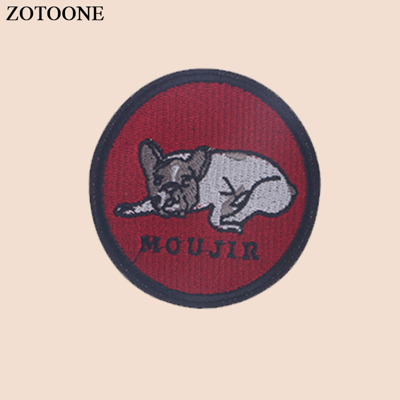 ZOTOONE Iron on Round Animal Dog Patch for Clothes Heat Transfer Stickers Applique Embroidered Applications Cloth Fabric G in Patches from Home Garden
