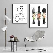 İskandinav tarzı çiçek sofra Minimalist tuval boyama posteri baskı duvar sanatı resimleri mutfak odası için ev dekor