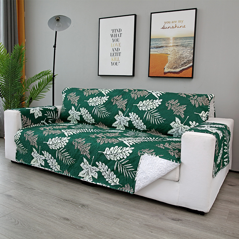Embossing Process Modern Couch Cover Sofa Towel  Leaves Print  Removable Armrest Slipcovers Pet Dog Kids Mat Furniture ProtectorSofa  Cover