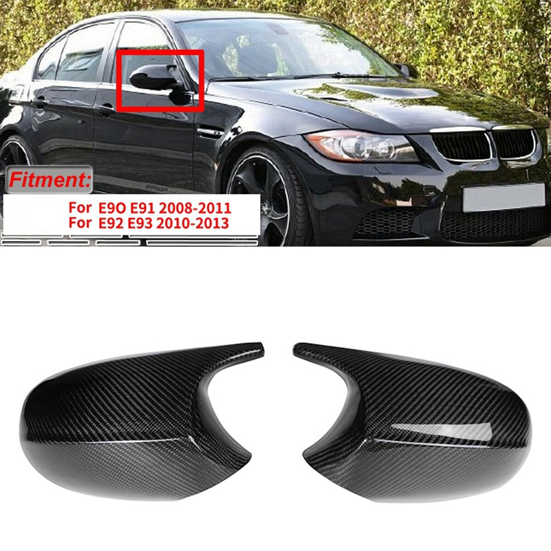 Carbon Fiber M3 Style Rear View Mirror Cap Cover Replacement for BMW 3 Series E90 E91 E92 E93 LCI Facelifted 2010-2013 image