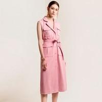 2019 New Arrival Classic Fashion Blazer Dress Women High Quality Runway Designer Slim Fashion Sleeveless Pockets Long Dresses