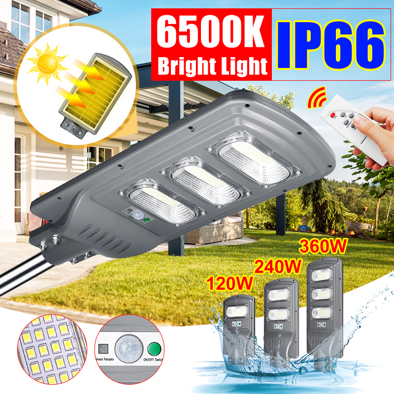 IP66 120W/240W/360W LED Outdoor Lighting Wall Lamp Solar Street Light Solar Powered Radar Motion Light Control For Garden Yard