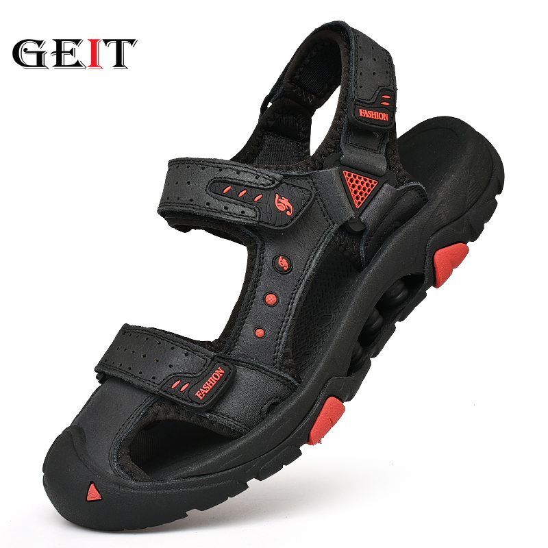 Summer Sport Sandals For Men Beach&Outdoor Sandals Shoes Men Anti Skid Slippers Men Breathable Leather Hiking Sandals