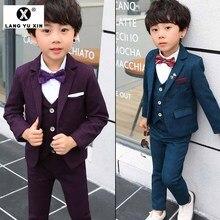 Детский костюм для мальчиков, комплект из трех предметов: жилетка+ пиджак+ штаны платье для мальчиков для свадебной вечеринки, дня рождения детский смокинг для танцевальной вечеринки