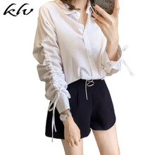 Women Plus Size Lace Up Drawstring Long Sleeves Blouse Lapel Collar Button Up V-Neck Office Tops Solid Color Loose Shirts M-4XL notch collar frill cuff drawstring waist blouse