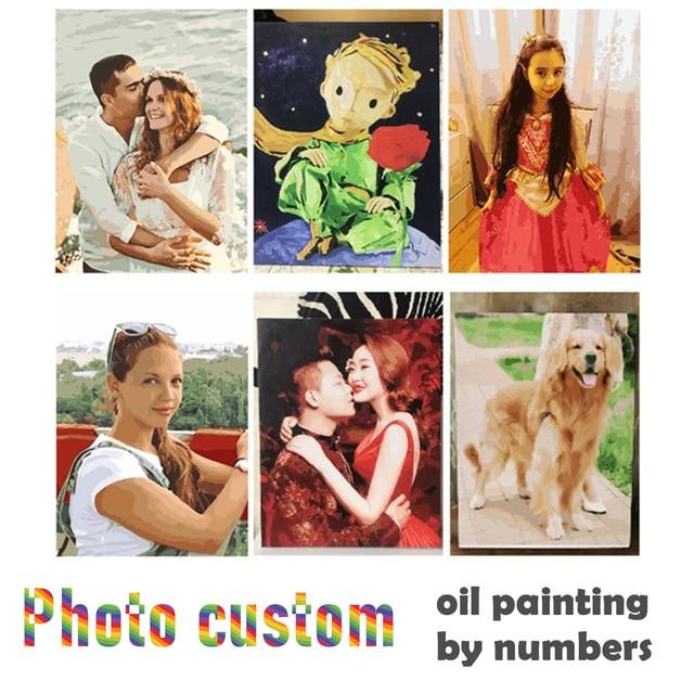 תמונה אישית ציור על ידי מספר DIY שמן ציור תמונת ציור בד צביעה על ידי מספרי משפחה תמונות