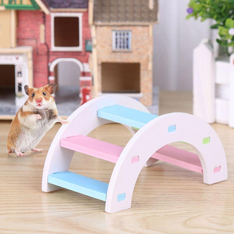 Cute Hamster Colorful Ladder Toys Small Animals Climbing Wood Rainbow Bridge Toy Pet Accessories Hamster Ladder Toy Pet Supplies