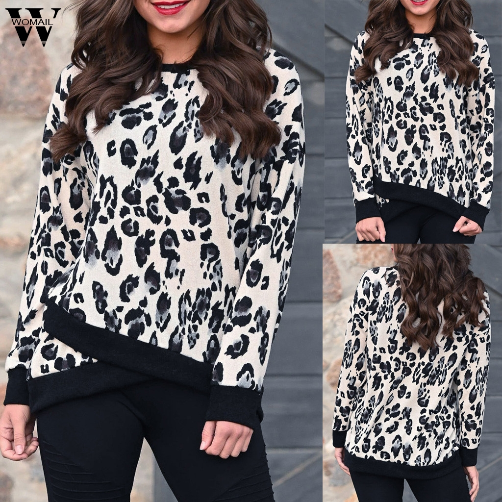 NEW Womail Sweatshirts Women's O-Neck Long Sleeves Leopard Print autumn Fashion O-Neck Regular Sexy Mujer Women Sweatshirt S-XL
