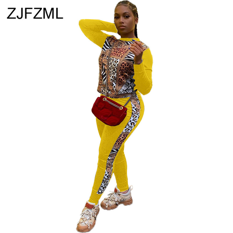 Leopard Patchwork Plus Size Two Piece Outfit Sweat Suits Women O Neck Full Sleeve Crop Top And Causal Pants Sportswear Tracksuit