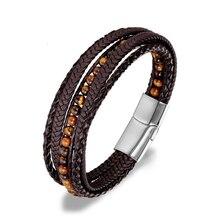 Мужской кожаный браслет 6 мм из натурального камня, тканый многослойный браслет в стиле бохо, мужской браслет ручной работы на магнитной застежке, ювелирное изделие