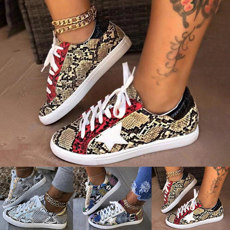 PU Leather Flat With Snake Pattern Shoes Women Lace-up Fashion Printed Female Sneakers New Leisure Women Sneaker Footwear 2020