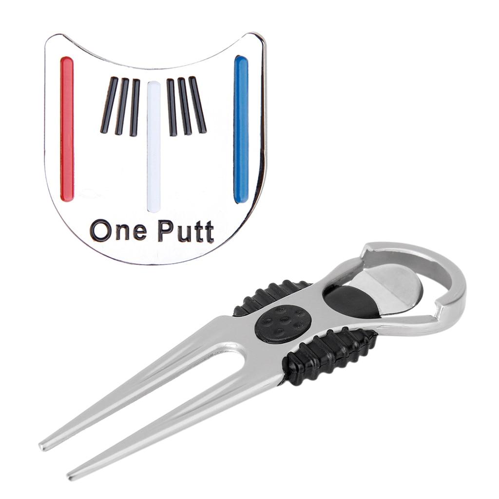 Silver Golfer Club Golf Divot Tool W/ Golf Marker Repair Tool +Golf Hat Clip Golf Accessories Golf Training Aids