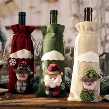 Christmas Decoration Beard Santa Claus Doll Wine Bottle Cover Clothes For Home Party Dinner Table Decor