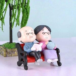 3Pc/set Cute Figures Chair Book Grandma Grandpa Old Couple DIY Mini Fairy Garden Ornament Doll Couple Gift Figurines Miniature(China)