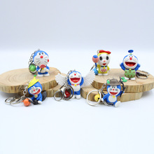 6 Pieces / Set of Wholesale Creative Cat Keychain Cute Cartoon Bell Key Ring Pendant Jewelry Free Shipping