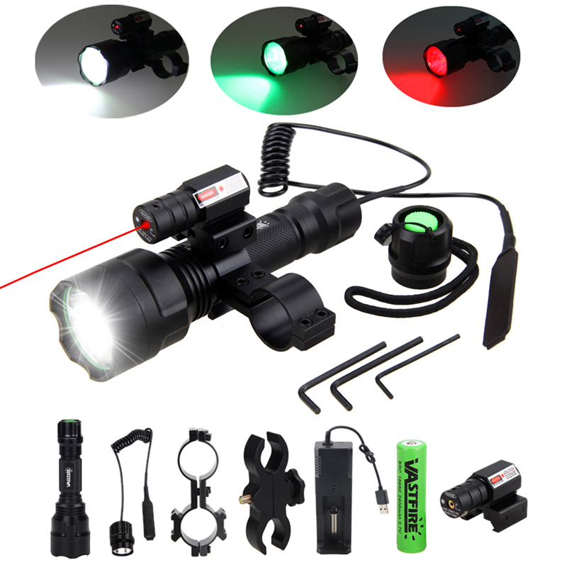 200 Yards Tactical Hunting Flashlight C8 LED Rifle Gun Light+Laser Dot Sight Scope+Switch+2*20mm Rail Barrel Mount+18650+Charger