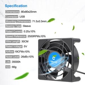 Image 5 - VONTAR – Mini ventilateur de refroidissement C1, pour boîtier TV Android, silencieux, sans fil, cc 5V, alimentation USB, 80mm, 80x80x2