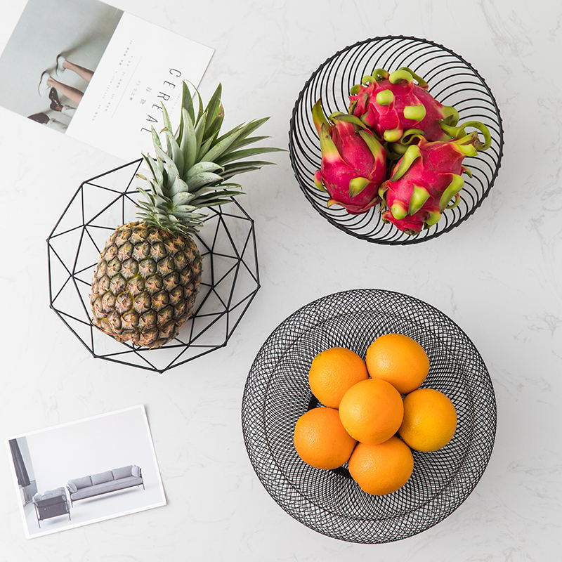 Nordic minimalistic geometric iron fruit plate living room home creative storage basket snack snack fruit basket fruit basket