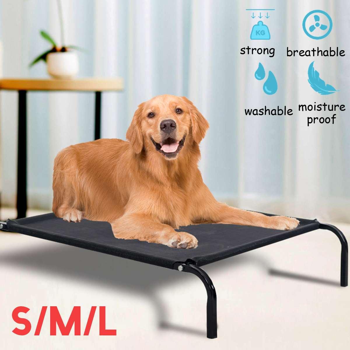 Lit pour animaux de compagnie surélevé détachable hiver garder réchauffer lit pour chien en plein air respirant maille chiot tapis de lit grand chien lit sommeil Camping lit