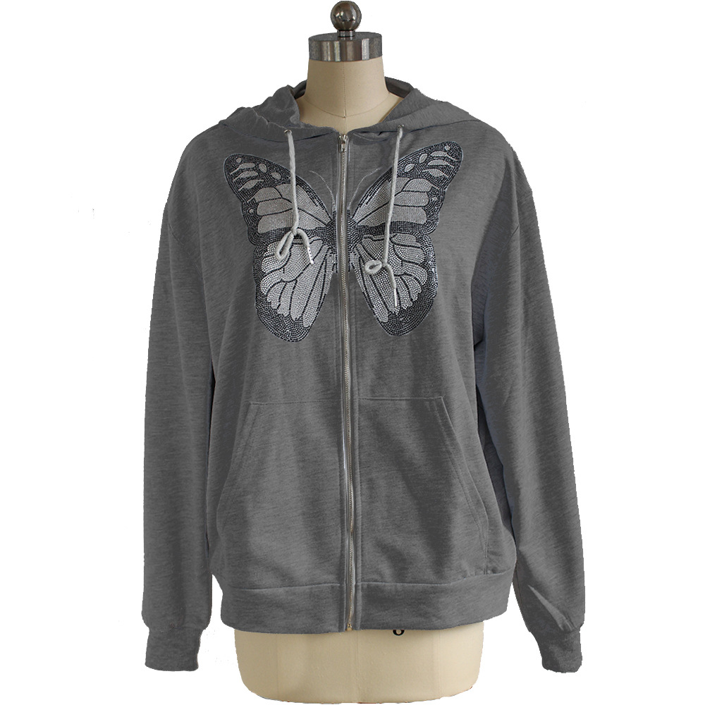 Kawaii Butterfly Zip Up Long Sleeve Summer Sweatshirts 2021 Spring Oversized Hoodies Women Cotton Black Streetwear GrayTops 4