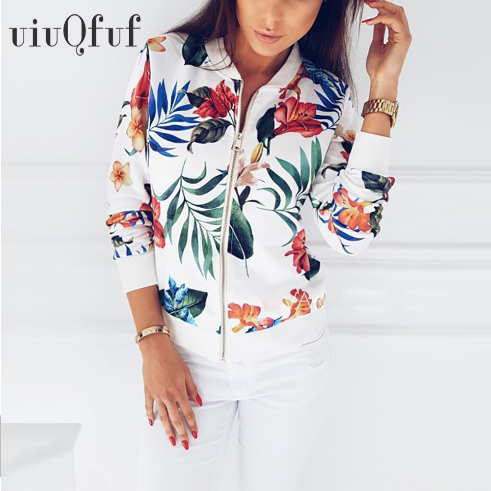 5XL Large Size Women's Jacket Short Retro Floral Printed Long Sleeve Zipper Bomber Jackets Autumn Coat Female Biker Outwear Tops