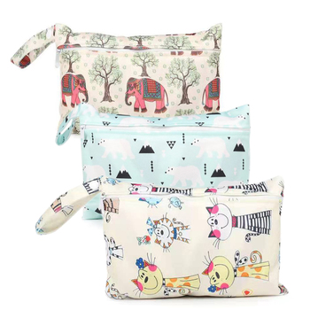 Waterproof reusable wet bag printed pocket diaper bag PUL travel dry wet bag mini diaper bag size 22.5*15CM