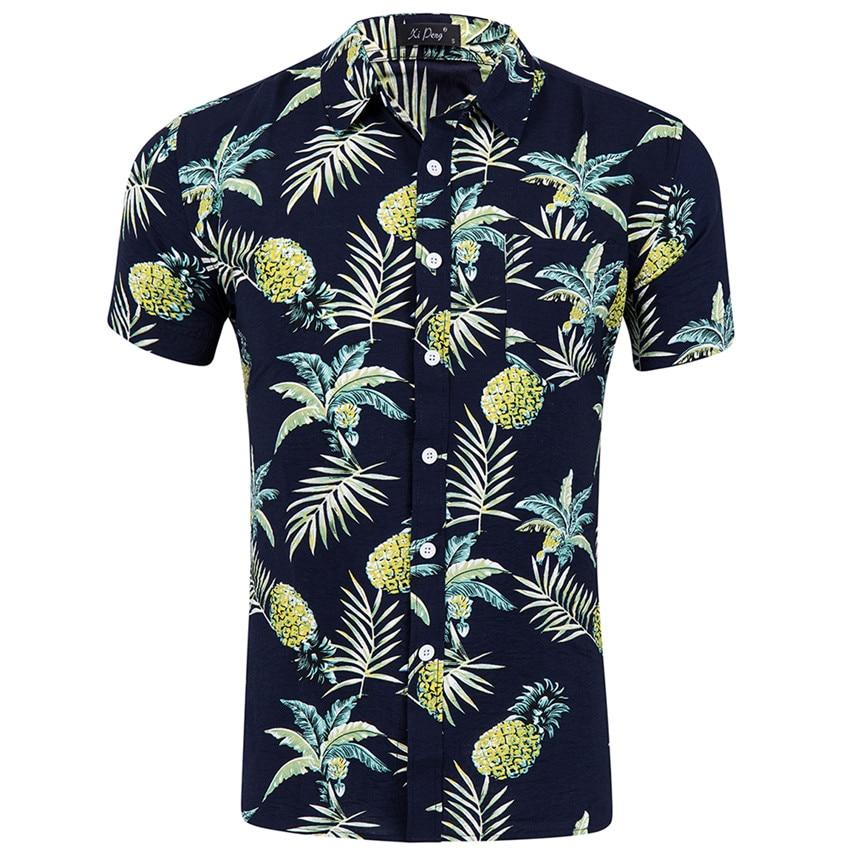 2020 New Summer Shirt Mens Short Sleeve Shirts Beach Hawaiian Shirts Cotton Casual Floral Shirts Mens Clothing Fashion Male Shir