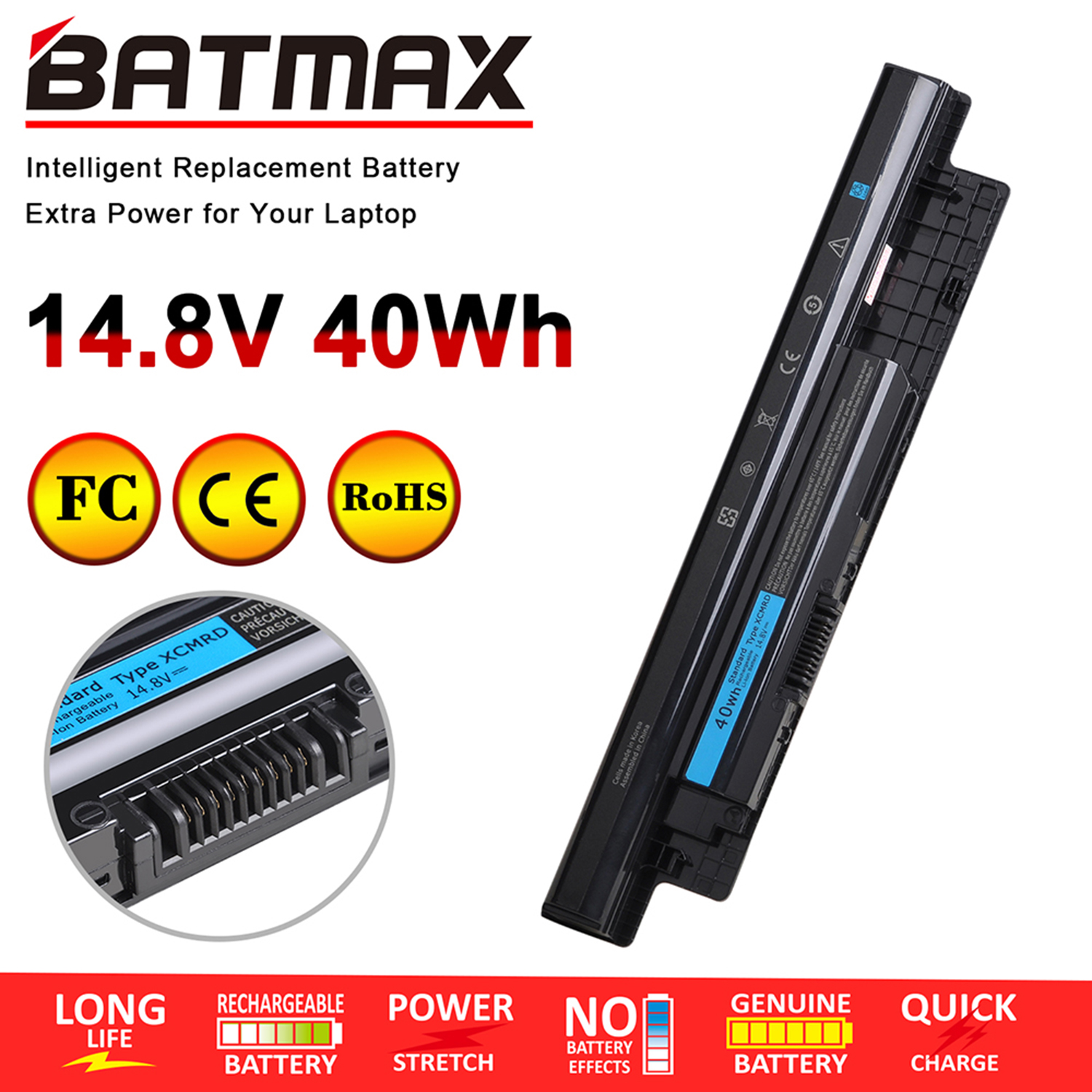 MR90Y Laptop Battery For Dell Inspiron 14 3421, 14R 5421 5437, 15 3521, 15R 5521 5537, 17 3721 3737, 17R 5721 5737, Fit P/N XCMR