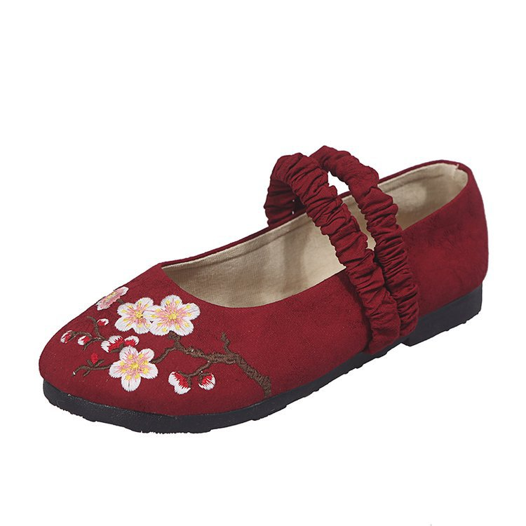 Women's Flats Embroider Autumn Fashion Casual Solid Round-Toe All-Match 35-40