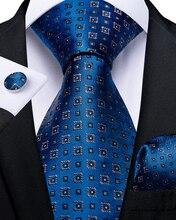 Fashion Men Tie Bule Solid Dot Wedding For Business Dropshipping DiBanGu New Designer Hanky Cufflinks Set SJT-7261
