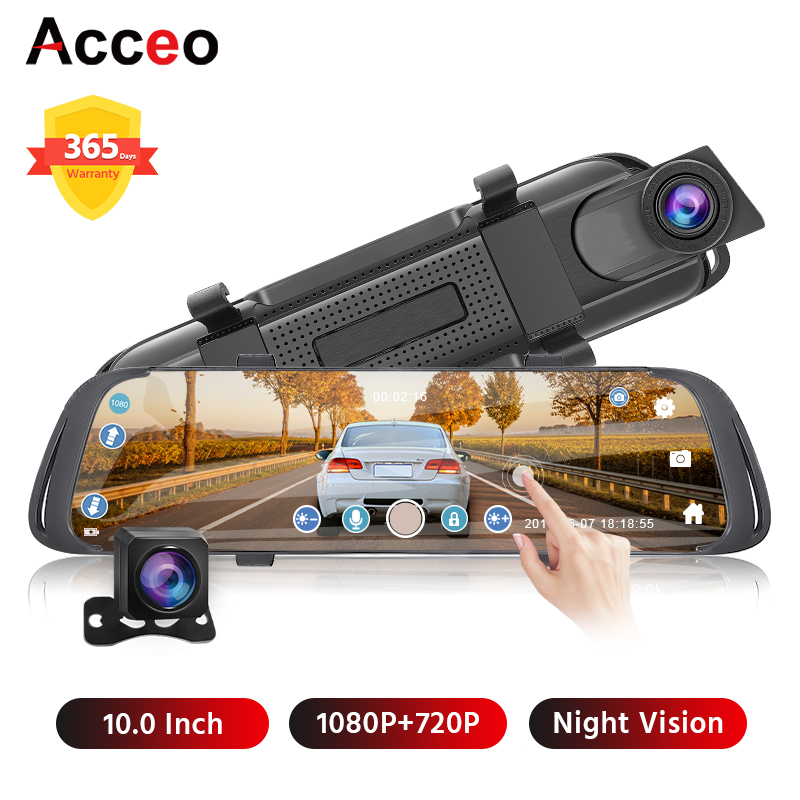 Acceo X2 10 Inch Car DVR Mirror Dash cam FHD 1080P Dual Lens Auto Camera Video Recorder with Rear View Camera DVRs Registrar