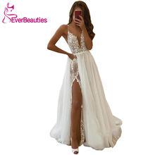 Женское свадебное платье с кружевной аппликацией из тюля v образным