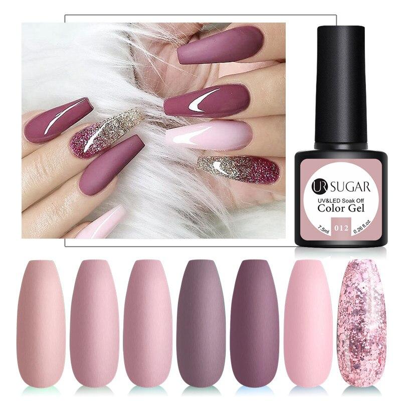 UR SUGAR 7.5ml Nude Color Series Nail Art Gel Polish Semi Permanent Matte UV Gel Nail Soak Off Nails Gel Varnish Nail Polish