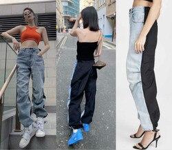 AAW146 лоскутные плиссированные спортивные повседневные свободные джинсы с высокой талией для женщин, потертые джинсы A2