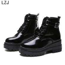 LZJ 2019 Women's Flat Platform Ankle Boots Spring Patent Leather Boot Black Lace Up Creepers Shoes Fashion Party Footwear Chunky(China)