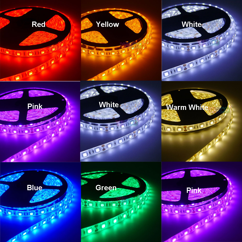 Led Strip Tape Lamp 5m 60led/m 5050 DC12V Diode Flexible Led Strip Light RGB/White/Warm White/Red/Green/Blue/Yellow/RGB+W/RGB+WW
