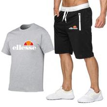 2019 New Brand Men Fashion Two Pieces Sets T Shirts+Shorts Suit Summer Tops Tees Tshirt High Quality men clothing