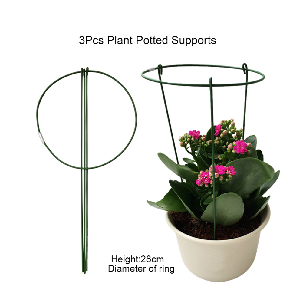 3pcs Short Plant Support Ring Rust Resistant Flower Holder Outdoor Garden Green Plant Vegetables Growing Support Bracket 14 22cm Plant Cages Supports Aliexpress