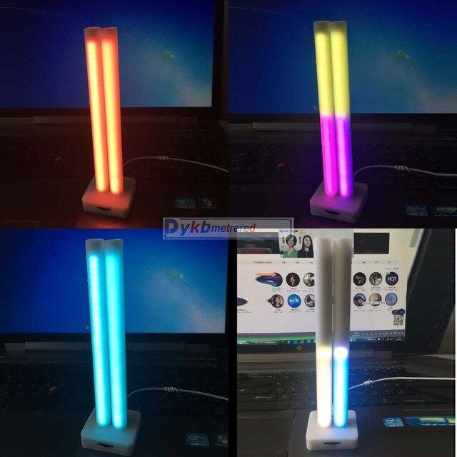المزدوج 32 بت التحكم الصوتي الموسيقى إيقاع مستوى اللمعان الطيف عرض مؤشر مستوى الصوت 64 led كامل اللون ل MP3 مكبر الصوت