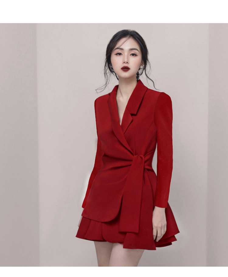 Autumn Notched Solid Casual Office Blazer Skirt Women Two Piece Sets Work Suits Dress 19