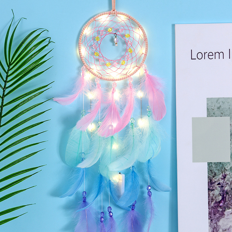 Wall Dreamcatcher  Led Handmade Feather Dream Catcher Braided Wind Chimes Art For Dreamcatcher Hanging Car Home Decoration